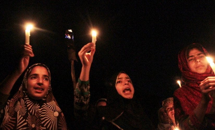 Night protests in Kashmir. Firstpost/Ishfaq Naseem