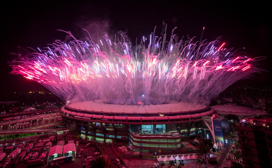 Fireworks explode over the Maracana Stadium during the opening ceremony. Getty Images