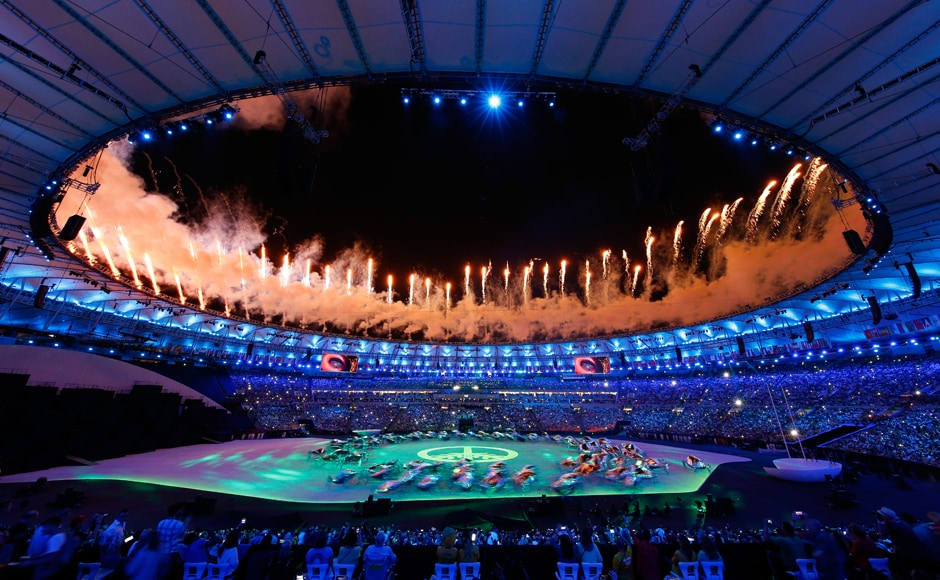 Fireworks explode during the Opening Ceremony of the Rio 2016 Olympic Games at Maracana Stadium. Getty Images