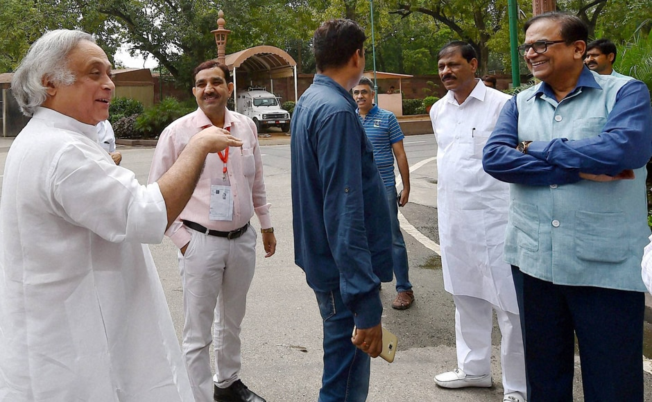 Congress leader Jairam Ramesh (left) leaves afterthe all-party meet. The Congress has always maintained that the failure of the PDP-BJP government is behind the Kashmir unrest.PTI