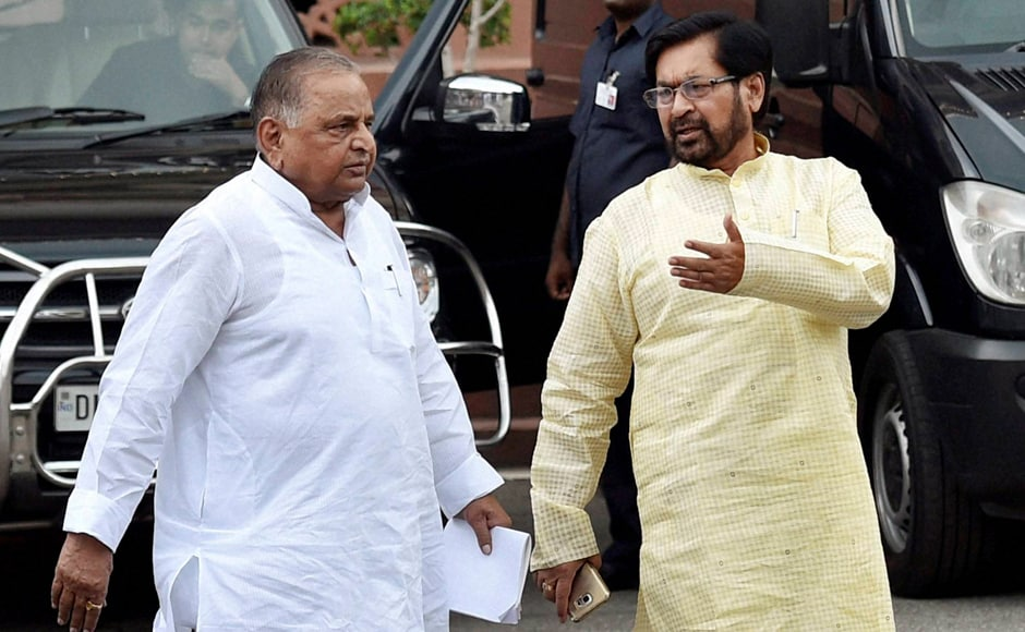 Samajwadi Party chief Mulayam Singh Yadav (left) after the all-party meet. The SP had said in the Parliament that Pakistan was behind the Kashmir unrest. PTI