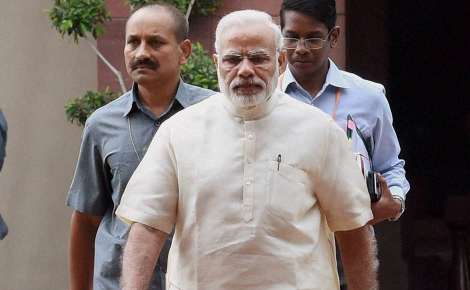 Prime Minister Narendra Modi leaves after the all-party meet. All major political parties had met in a four-hour-long session soon after the conclusion of Monsoon Session in Delhi to discuss the ongoing Kashmir crisis. PTI
