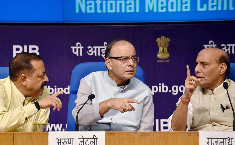 Finance Minister Arun Jaitley (centre), Home Minister Rajnath Singh (right) and Minister of State Jitendra Singh address a press conference after the all-party meet. The government talked tough on the Pakistani interference in Indian-administered Kashmir by needling the neighbouring state on the Balochistan issue. PTI