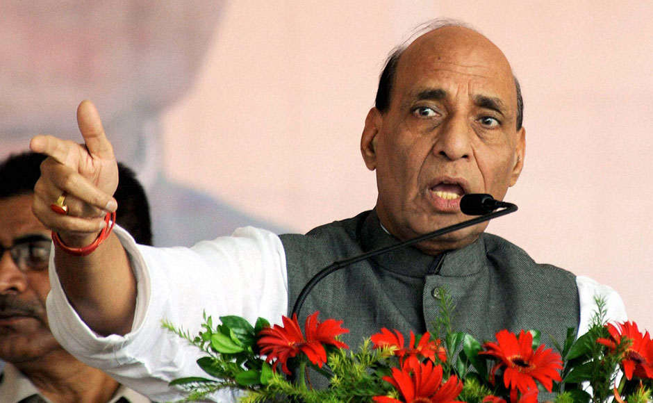Rajnath Singh addresses a gathering after laying foundation stone for Developmental Projects at birth place of legendary freedom fighter Bhagwan Birsa Munda. Singh's Jharkhand visit was a part of the government's <em>Yaad Karo Kurbani</em> initiative, which aims to felicitate martyrs and freedom fighter. PTI