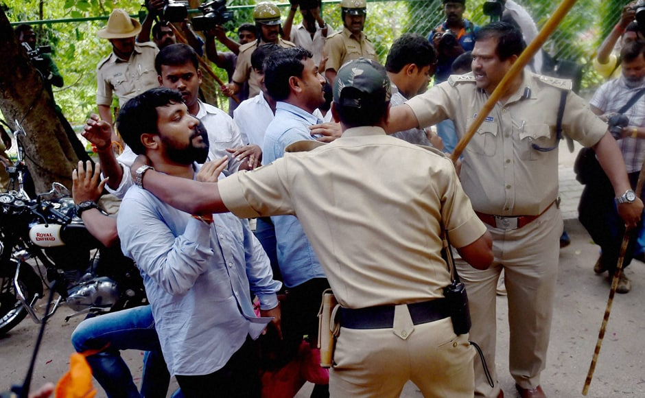 "The protesters alleged that the police under the DCP's leadership behaved in an ""inhuman"" way and more than 10 ABVP activists were injured in the lathi charge. (Photo: PTI)"