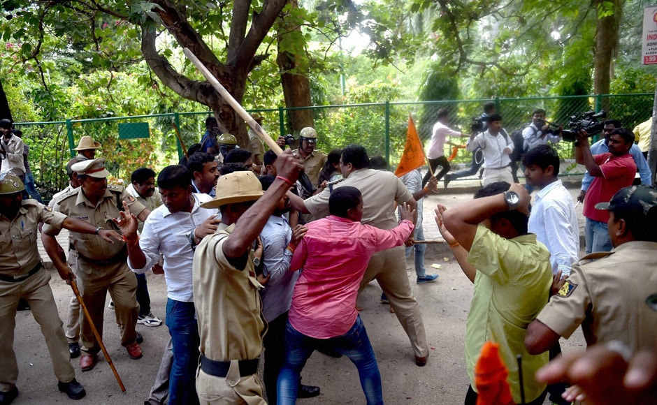 "Bengaluru Police even baton-charge ABVP activists during the protest. Calling their protest ""peaceful"", ABVP National General Secretary Vinay Bidre said, ""We demanded that police vacate Amnesty staff who were recording our protest from their office. (Photo: PTI)"