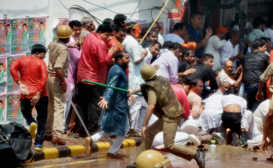 The police even used water cannons and then force to try to disperse them. Drenched workers, however, continued to march. Photo: PTI