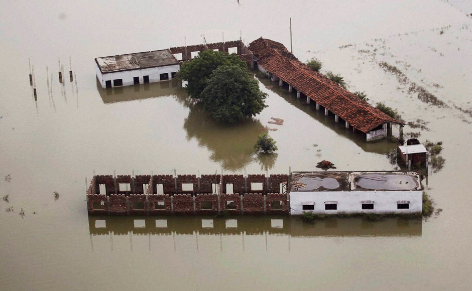 An aerial view of the floods which has wrecked havoc in daily lives of people with Ganga and Yamuna still hovering above the danger mark in Allahabad.