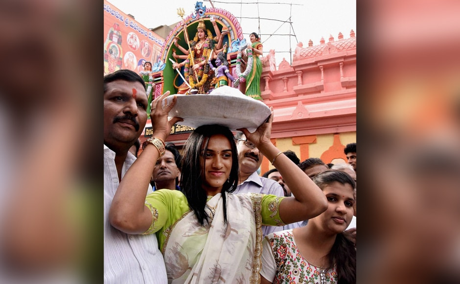 Rio Olympics silver medalist PV Sindhu offered thanksgiving prayers at the Mahankali temple in Hyderabad on Saturday. PTI