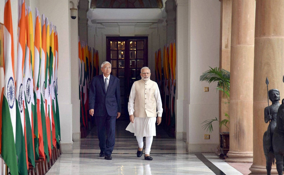 Prime Minister Narendra Modi and Myanmar's President U Htin Kyaw arrive for a meeting at Hyderabad house in New Delhi. One of the major agreements signed by India and Myanmar includes construction of 69 bridges on the trilateral highway connecting India, Myanmar and Thailand. PTI