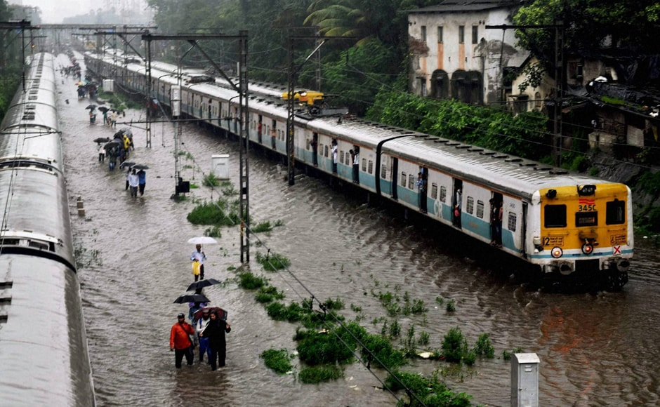 The Central Railway was hit due to flooded tracks near Sion-Kurla. The cascading effect affected the other two lines. Suburban train services on Western Railway, Central Railway and Harbour Line ran 15-30 minutes late. Stations were waterlogged. PTI