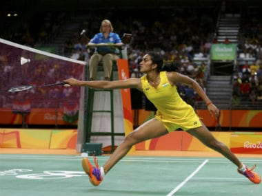 PV Sindhu in action in the Rio 2016 badminton finals. Reuters