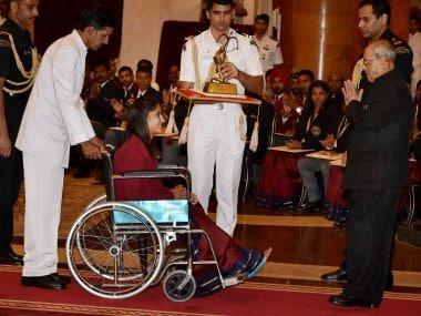 President Pranab Mukherjee presents Vinesh Phogat with her Arjuna Award. PTI
