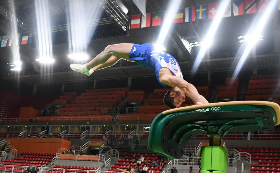 Gymnast Kristian Thomas of United Kingdom in training. He was a member of the historic bronze medal-winning Britishers who participated in the 2012 Summer Olympics. Reuters