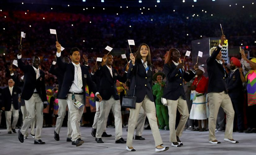 The Refugee Olympic Athletes' team arrives for the opening ceremony. Reuters