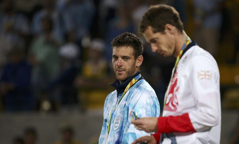 Gold medalist Andy Murray and silver medalist Juan Martin Del Potro. Reuters