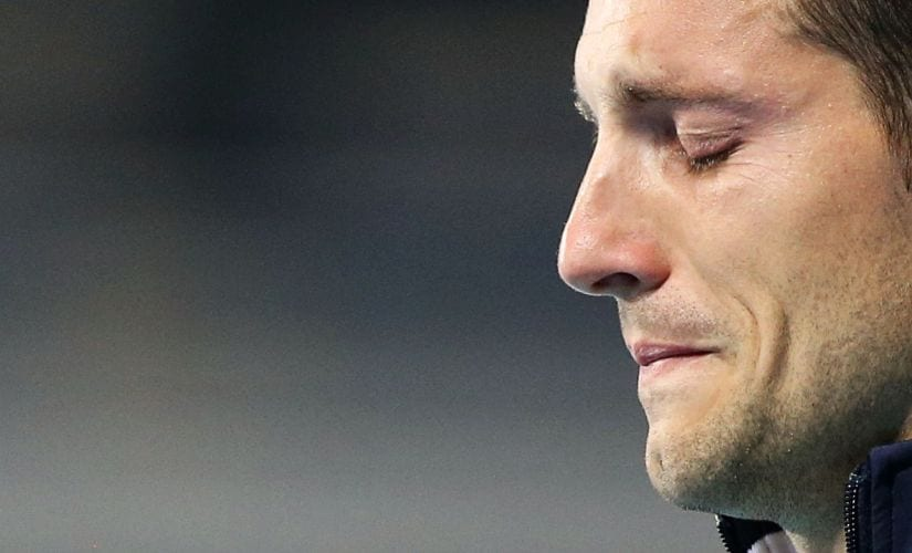 Silver medalist Renaud Lavillenie of France reduced to tears in front of a jeering crowd. Reuters