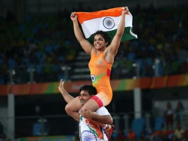 Sakshi Malik celebrates with her team member after winning the bronze medal. Reuters