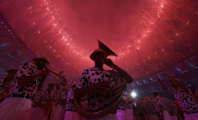 Performers take part in the closing ceremony. Reuters