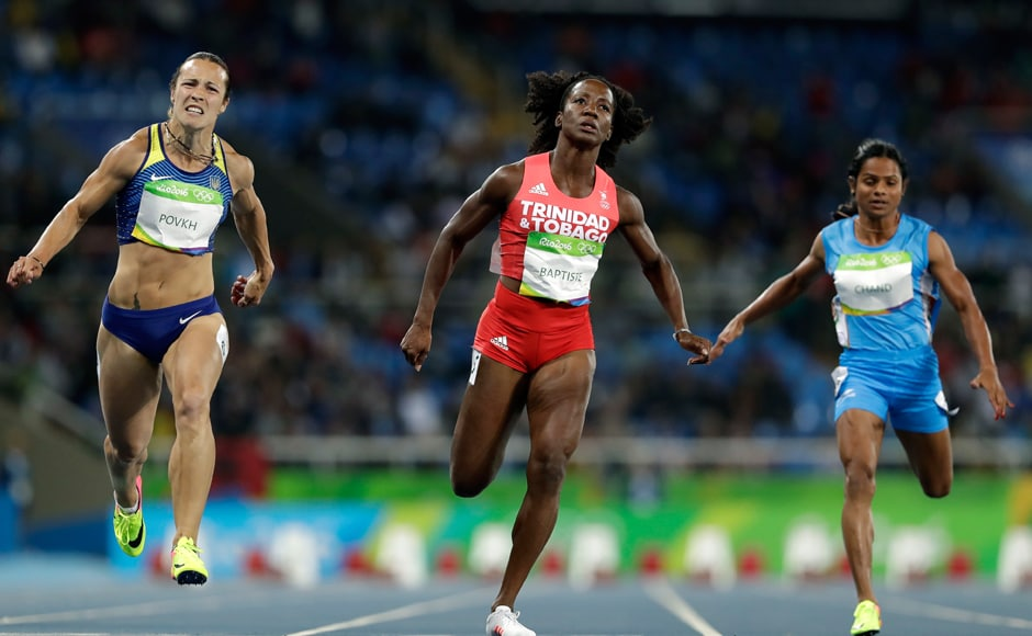 In the 100m sprint, India's Dutee Chand finished seventh in her heats with a timing of 11.69 seconds to bow out of the Olympics. AP
