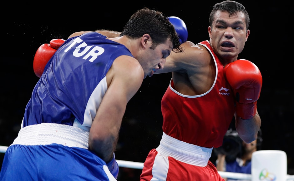 Vikas Krishan stands one win away from an elusive Olympic medal after outclassing Turkey's Sipal Onder 3-0 to make the quarterfinals of men's 75kg middleweight boxing. AP