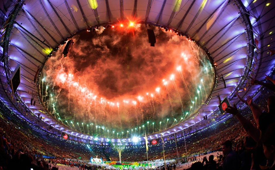 Pyrotechnics erupt during the closing ceremony in the Maracana stadium at Rio Olympics. AP
