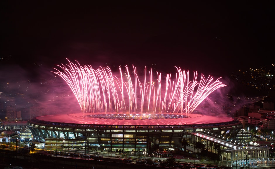 Fireworks explode above the Maracana stadium during the closing ceremony. AP