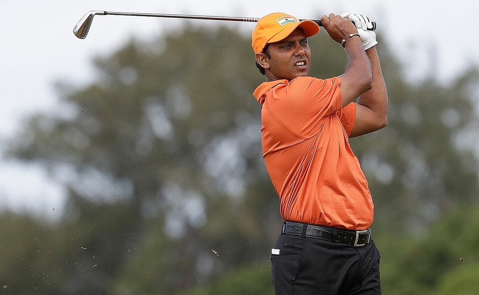 Anirban Lahiri of India tees off on the sixth green during the first round of the men's golf event at the 2016 Summer Olympics. AP