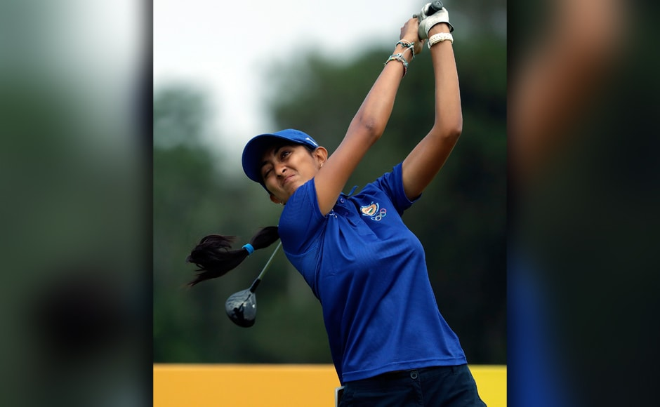 Aditi Ashok of India hits her tee shot on the 3rd hole during the second round of the women's golf event at Rio Olympics. AP