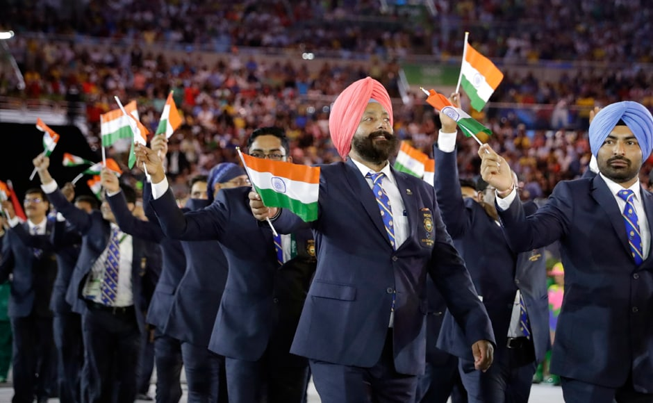 The Indian contingent arrives for the opening ceremony at the 2016 Olympic Games. AP