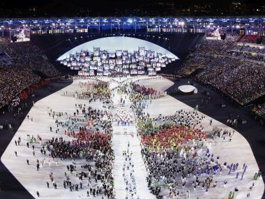 Athletes are introduced during the opening ceremony at the 2016 Summer Olympics in Rio de Janeiro. AP