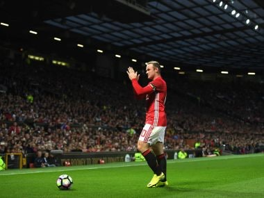 Wayne Rooney applauds the crowd during his testimonial at Old Trafford. Getty
