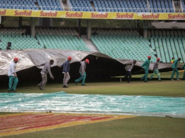 Play did not start on Day 3 of the 1st Test due to a wet outfield. AFP