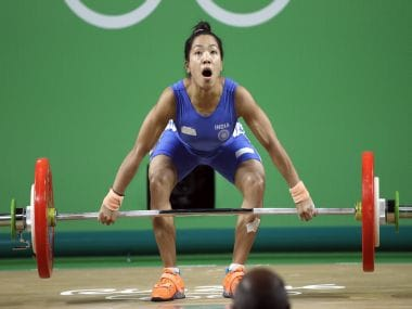Mirabai Saikhom Chanu competes in the women's 48kg weightlifting. AP