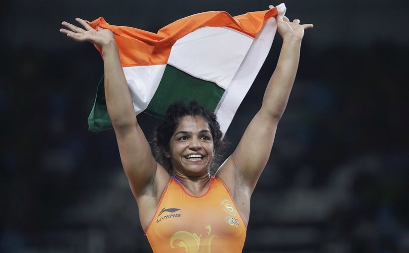 India's Sakshi Malik reacts after winning bronze against Kyrgyzstan's Aisuluu Tynybekova in the women's wrestling freestyle 58-kg competition at the 2016 Summer Olympics in Rio de Janeiro, adding to India's medal tally.AP