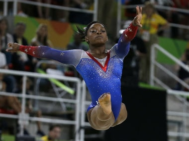 US gymnast Simone Biles performs during the artistic gymnastics women's apparatus final. AP