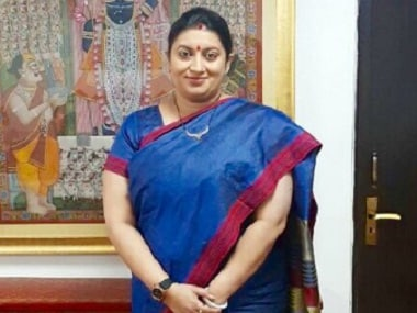 Textiles minister Smriti Z Irani shared this image on Twitter for her #ILoveHandloom campaign; she is wearing a Bihari silk
