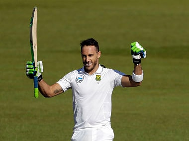 South Africa's captain Faf du Plessis celebrates after scoring century. AP