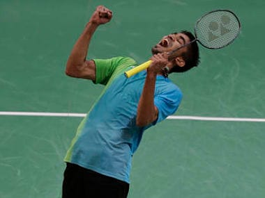 India's Srikanth Kidambi celebrates after beating Denmark's Jan O Jorgensen. AP