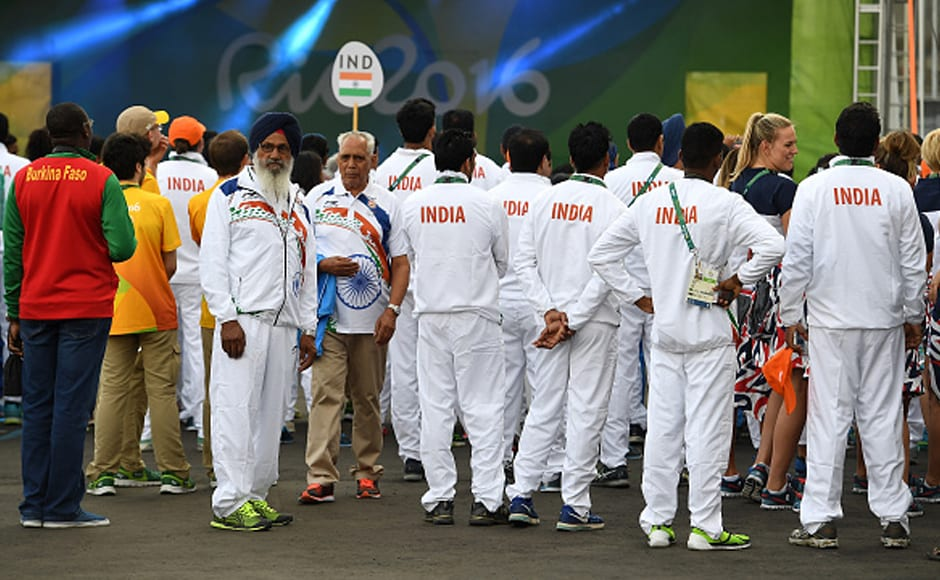 Team India attends the welcome ceremony at the athletes' village in Rio de Janeiro. Getty Images