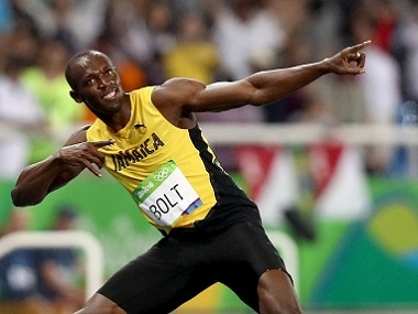 Usain Bolt of Jamaica has nine Olympic medals, the same as Carl Lewis. Getty Images