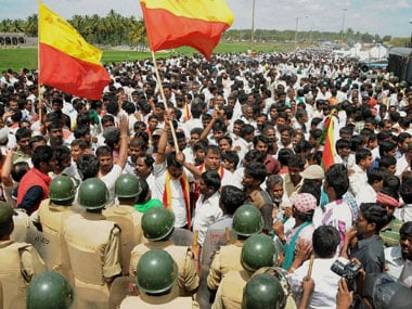 Protests in Karnataka over the release of Cauvery water. File photo. PTI