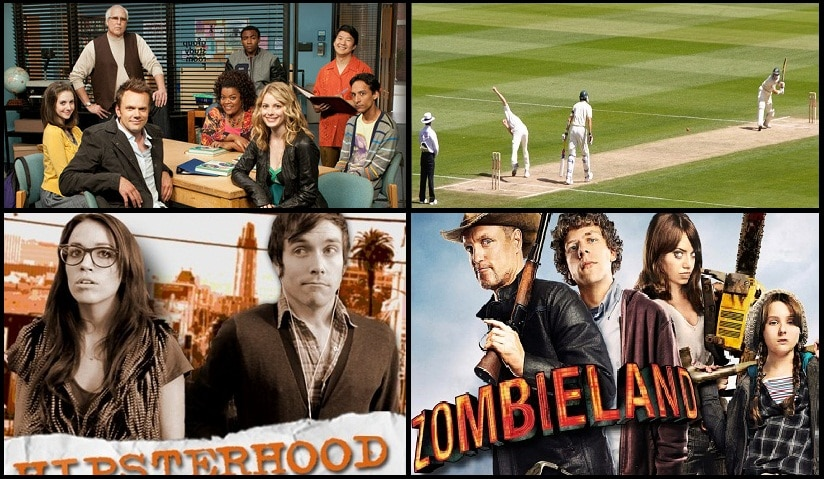 Clockwise: The cast of Community, India Vs West Indies T20, Hipsterhood and Zombieland