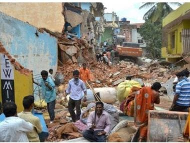 Buildings that were built on encroached land and drainages were demolished by the BBMP in Bommansandra area of Bengaluru. PTI