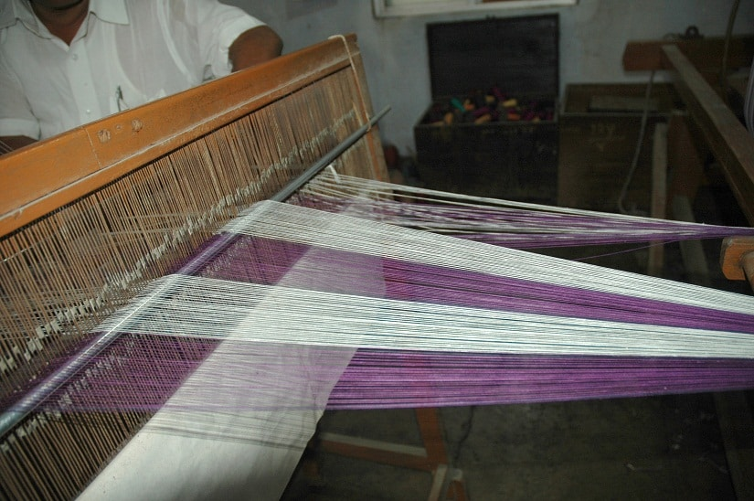 A weave takes shape at a handloom. File Photo/Image courtesy designer Shruti Sancheti