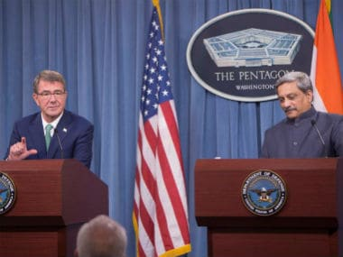 Defence Minister Manohar Parrikar with US Defence Secretary Ash Carter at a joint news conference at the Pentagon. CNN-News18
