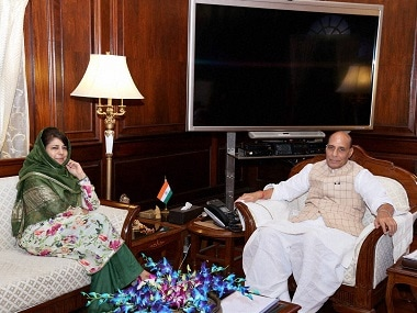 A file image of Union Home Minister Rajnath Singh with Chief Minister of Jammu and Kashmir, Mehbooba Mufti during a meeting on current situation of J&K in New Delhi on Monday. PTI