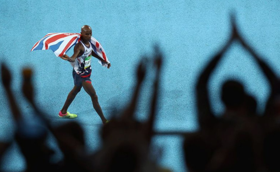 Mohamed 'Mo' Farah had a nasty fall in the men's 10,000m finals. Despite this scare, Farah still managed to retain the crown for this event. Getty Images
