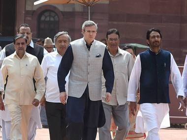 Former Chief Minister of Jammu and Kashmir Omar Abdullah comes out after a delegation of all opposition parties from the state led by him called on President Pranab Mukherjee at Rashtrapati Bhavan in New Delhi on Saturday. PTI