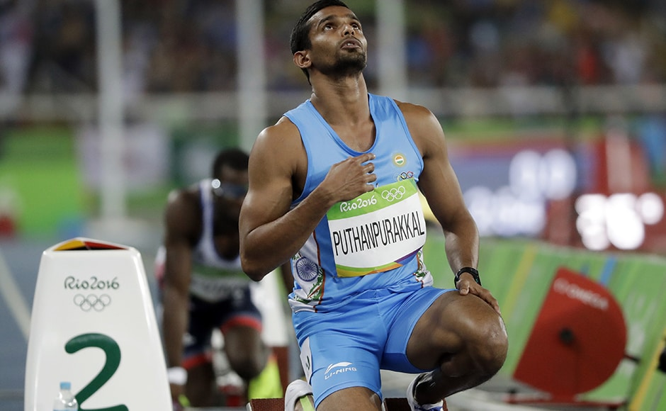 India's KM Puthanpurakkal prepares to compete in a men's 4x400-meter relay heat during the athletics competitions of the 2016 Summer Olympics. AP